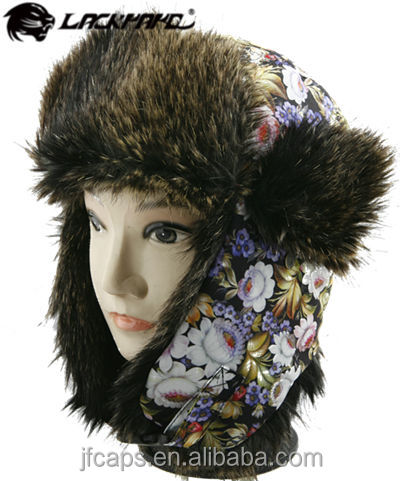 Custom ladies fake furry winter hat trapper hat with warm plush