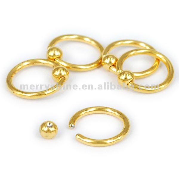 18g Gold Plated Captive Bead Nipple Ring Piercing Fr06 Buy 18g