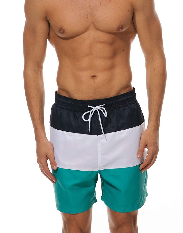 JINSHI Men's Slim Fit Shorts Quick Dry Swim Trunks with Mesh Lining Swimwear Bathing Suits
