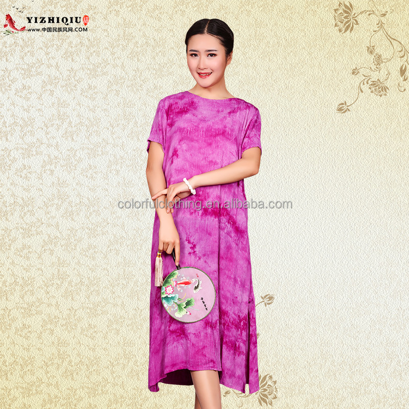 Chinese Printed style cotton linen comfortable long cheongsam qipao dress for women