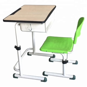 MDF board desk surface vintage primary school student study desk chair