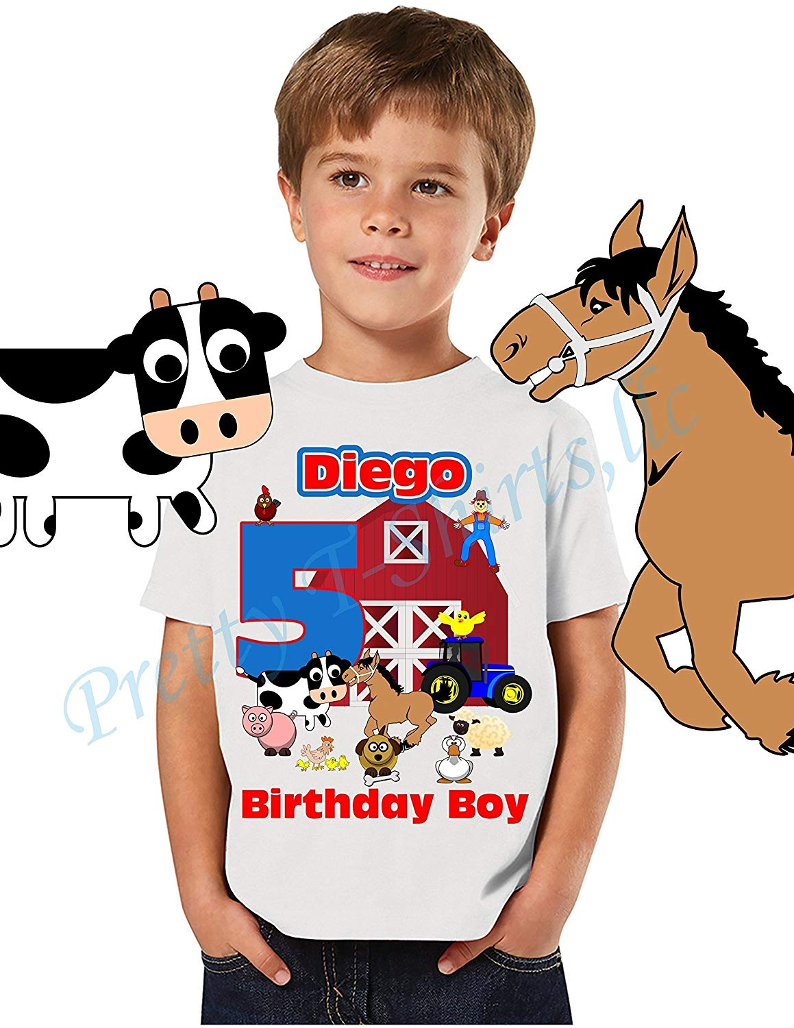 Get Quotations Farm Animals Birthday Shirts ADD Any Name Age Boy Shirt