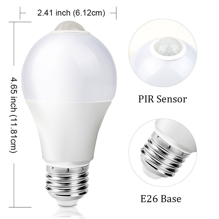 Day Night Light A60 E27 Automatic Motion Sensor Led Bulb A19 10w 12w E26 Smart Pir For Outdoor Indoor