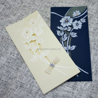 Ribbon and acrylic diamond decorated handmade wedding invitation card