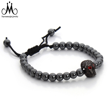 Men Women Luxury Gloss Black Hematite Magnetic Bead Bracelet Macrame Tassel Bracelet