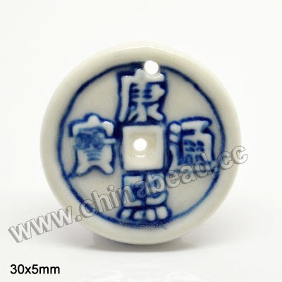 Wholesale coin beads, hand painted blue and white porcelain beads