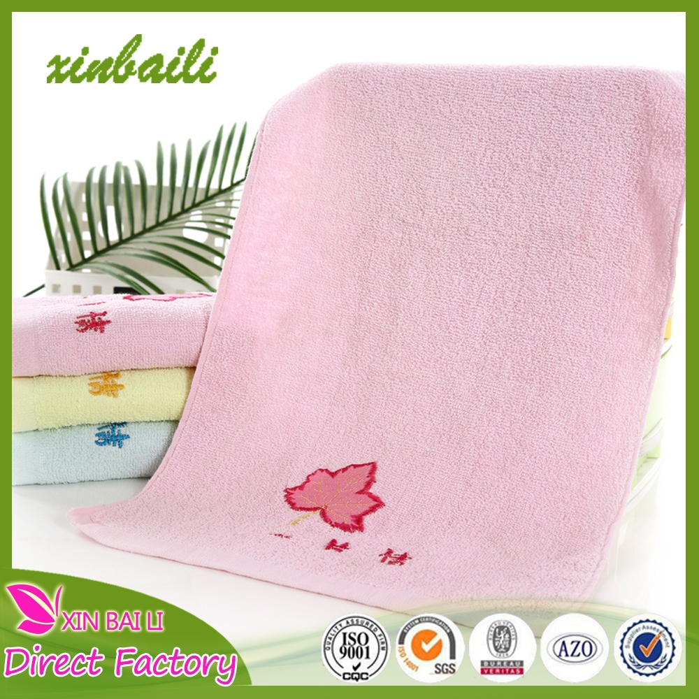 Wholesale 100% cotton face towels with cartoon leaves for labor insurance 32*72cm 80g