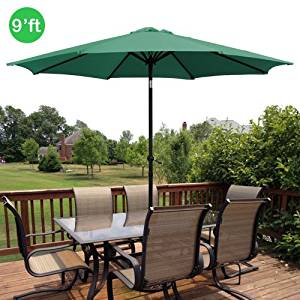 GotHobby 9ft Outdoor Patio Umbrella Aluminum w/ Tilt Crank - Green