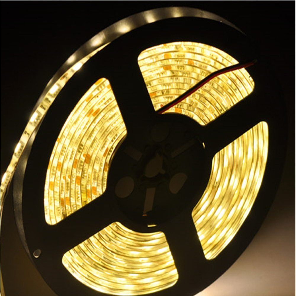 (5050)LED Strip Light 16.4Ft(5M) 300 Leds Waterproof Indoor/Outdoor Flexible Lights (No Power Supply)-Warm White