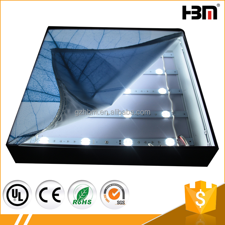 Advertising display 65mm aluminum single side fabric light box with LED2835 or 5050 led light lens