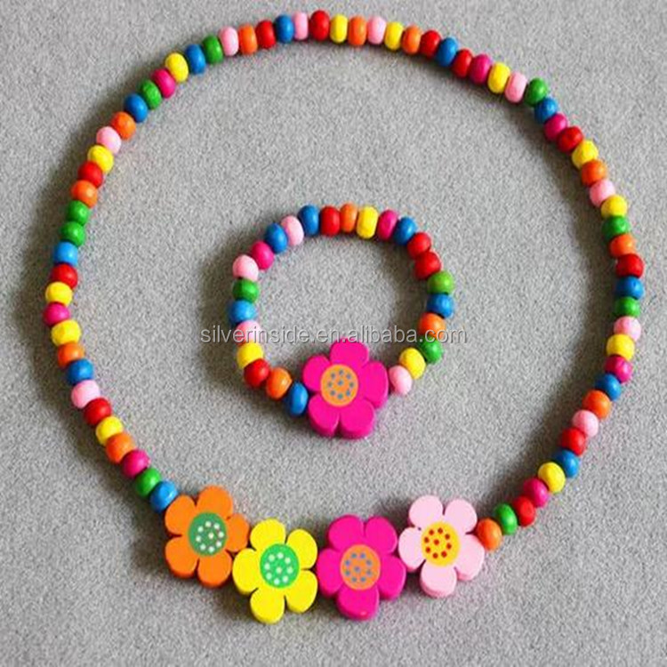 Jewelry Set for Little Girls, Kids, Toddlers, Children - With Flower Stretch Necklace and Bracelet