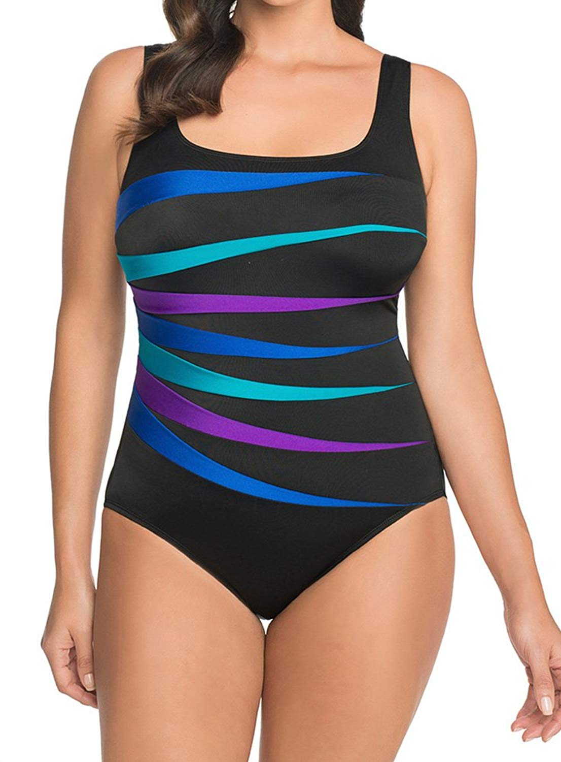 c02ba295bb5 Longitude Womens Plus Size Colorblock 7-Fold Fan Tank One Piece Swimsuit