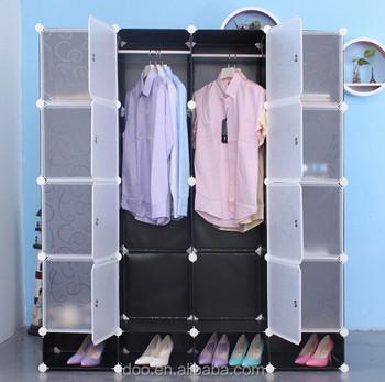 Storage For Clothing Free Standing Wardrobe Interlocking 20 Cubes Black Color Wardrobes Fh