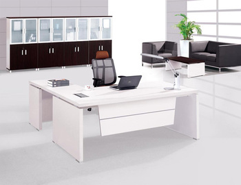 White Italian Style High Tech Director Table Wood Desk Curved Ceo Office Design Executive