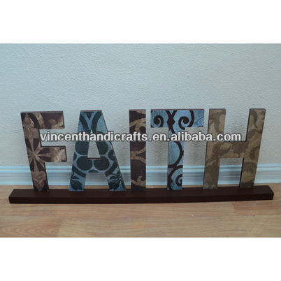 "Wooden letters sign free standing ""FAITH"" for home, wall, door decoration art"