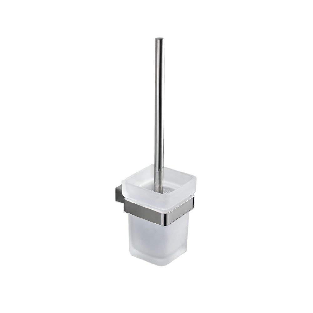 Hiendure Toilet Brush and Holder,Wall Mounted Toilet Scrubber with Bowl Holder 304 Stainless Steel,Polished Chrome