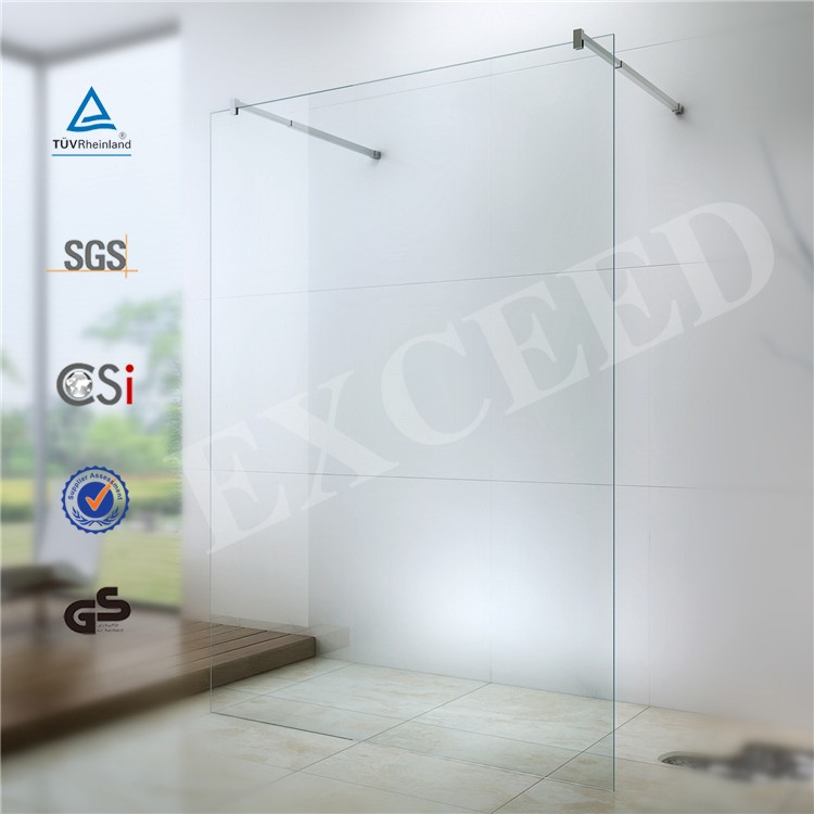 Tempered glass shower wall panels with adjustable support bar