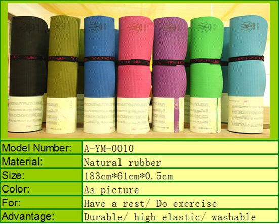 Newest Hot 7 colors A-YM0012 anti-slip yoga mat Rubber Yoga mat