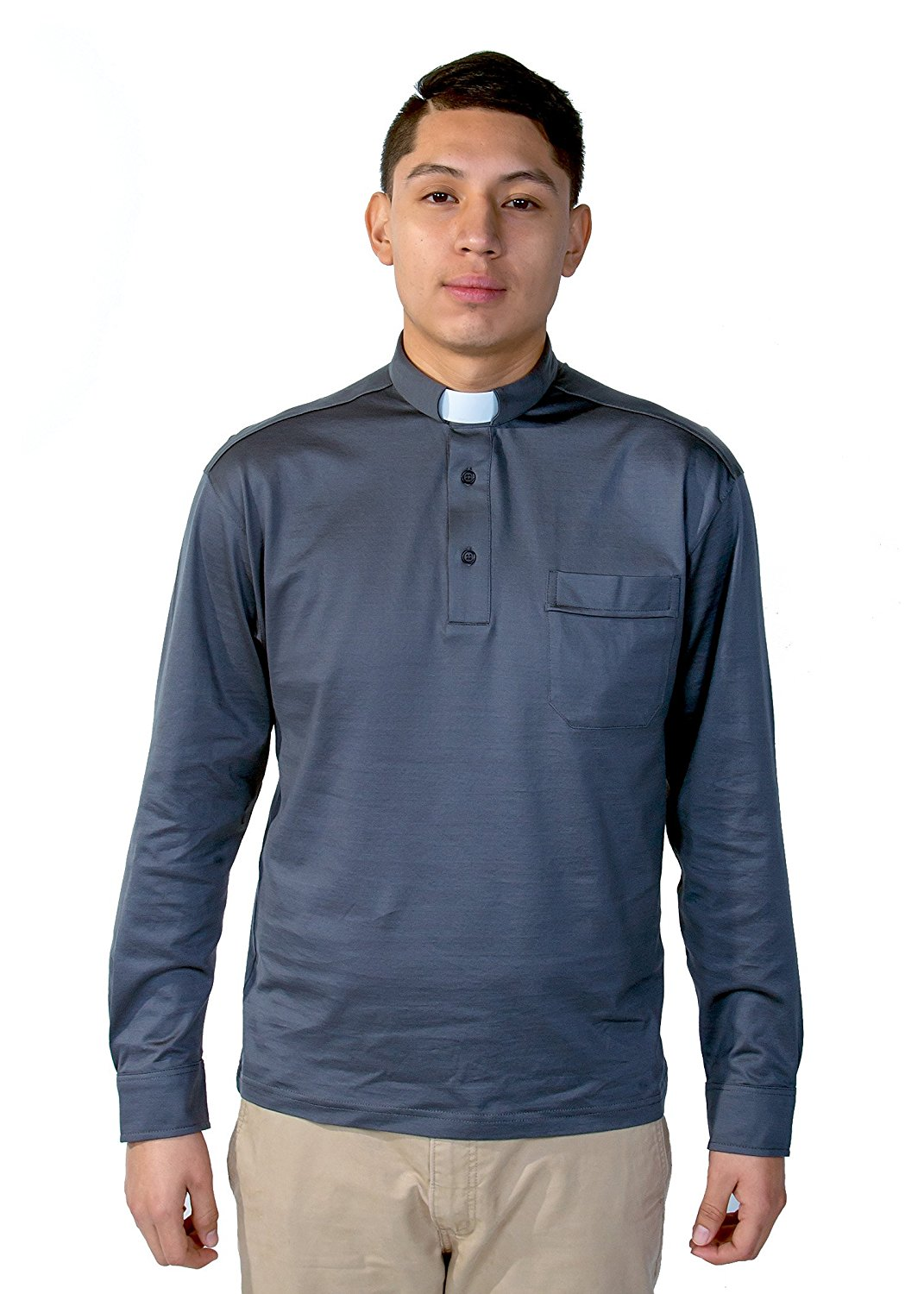 f1ea1c8501 Get Quotations · Mercy Robes Mens Cotton Clergy Polo Long Sleeve Tab Shirt  (Grey)