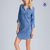 Long sleeves washed out chambray shirt dress latest fashion lady garment