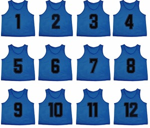 Athletics Set of 12 Premium Polyester Mesh Numbered Jerseys Scrimmage Vests Pinnies With Carrying Bag