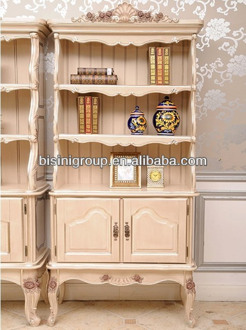 Vintage White French Wood Bookcase BF11-1207d