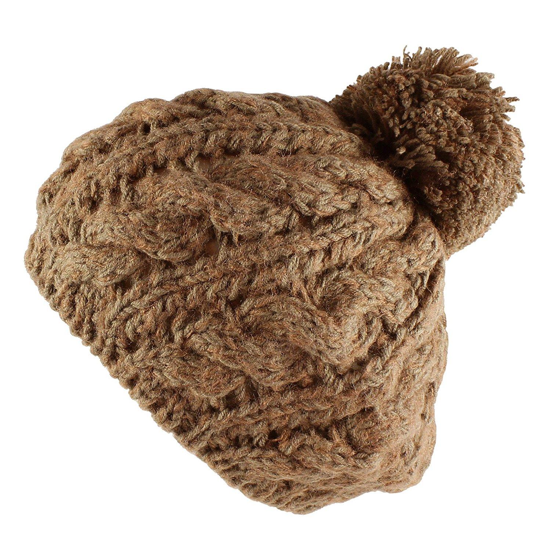 Morehats Two Tone Crochet Knit Pom Pom Beret Handmade Winter Ski Warm Hat 213b1db3f68a