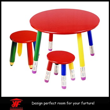 Small Size Cartoon Pencil Used Kids Table And Chairs