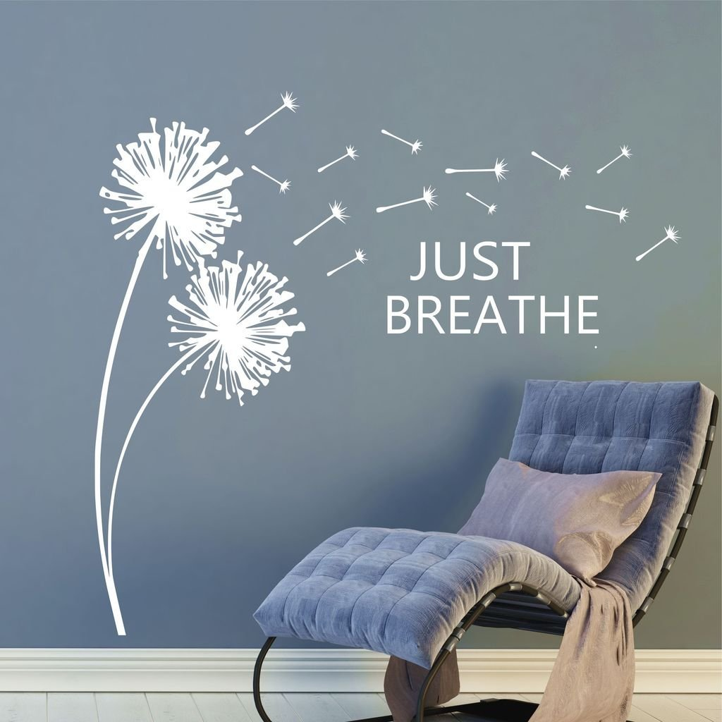 """Just Breathe Dandelions Blowing in the Breeze Inspirational Wall Quotes 36"""" H by 39"""" W, Dandelion Decals, Dandelions Blowing in the Wind Wall Decals, Dandelion Wall Stickers PLUS FREE HELLO DOOR DECAL"""