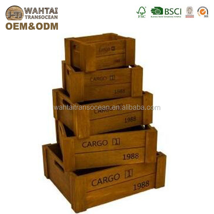 Storage Box Wooden Crates Set Of 5 Yellow Printed Decorative Basket  Decorative Box Wine
