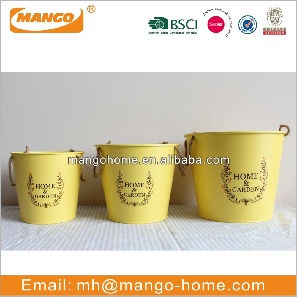 Powder coating 2pcs metal flower bucket with home&garden logo