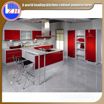 High Glossy Hotel Kitchen Cabinet Glass Door Modular Kitchen Designs