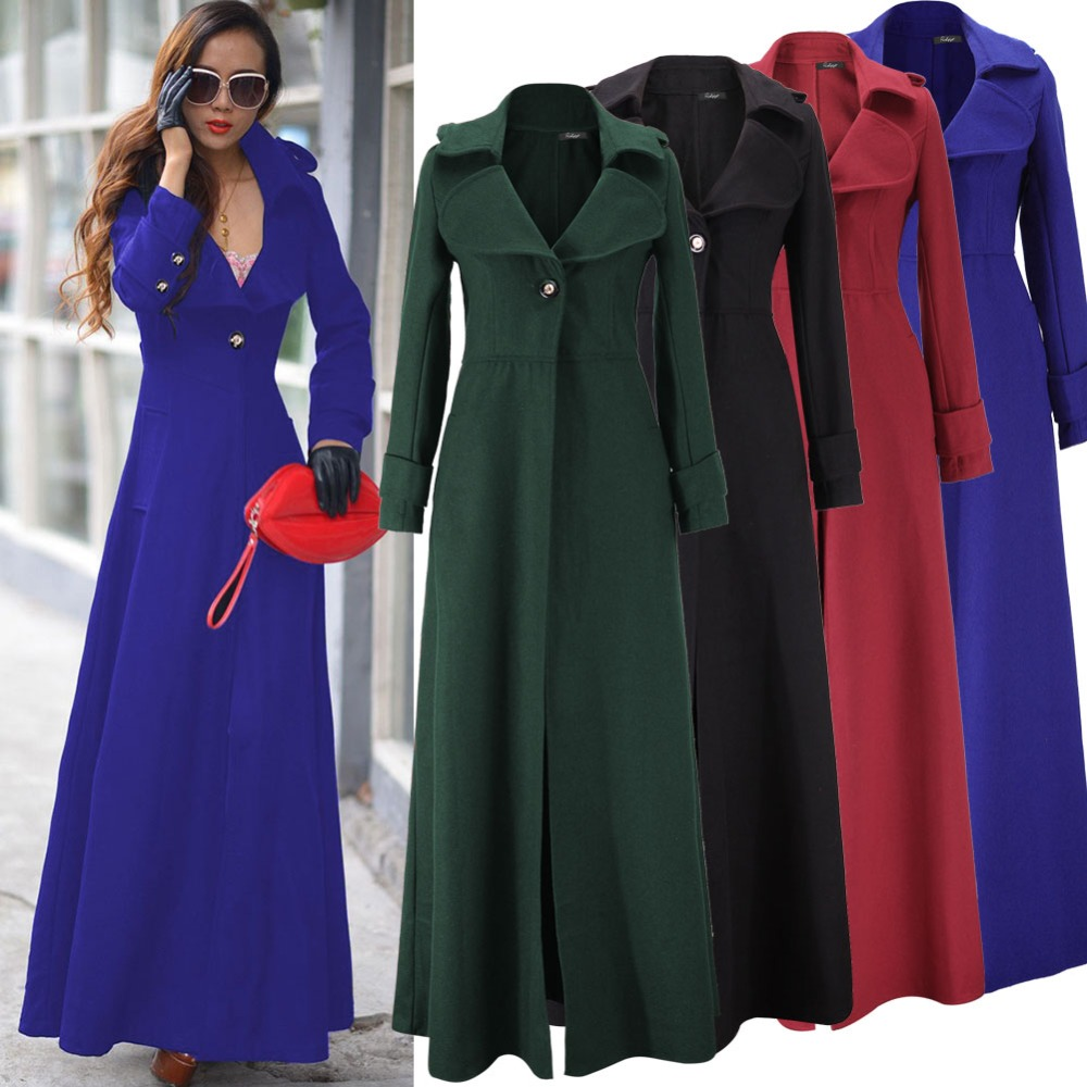 Latest Women's Full Length Military Coat Ladies Autumn Winter Slim ...