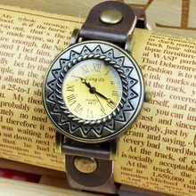Fashion Alloy Custom Wrist Leather Bracelet Watch For Lady