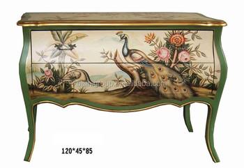 Classic Elegant European Style Peacock Design Green Console Table  BF11 03311c