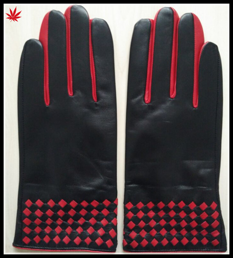 fashion style hot selling winter leather glove contrasting color
