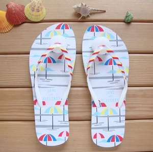 EVERTOP 2019 hot sale beach use hot girls EVA flip flops cheap wholesale Marine printing fancy sandal for girls