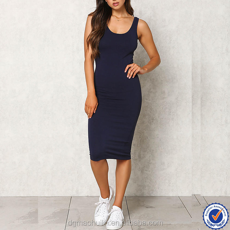 ladies clothes supplier women office dress fitted jersey cotton spandex dress jersey bodycon tank dress
