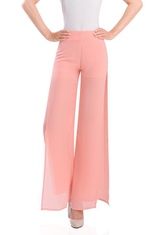 32255e8dddd2b Get Quotations · 2015 women Straight wide leg trousers Loose pink side  split chiffon dress pants Ladies high waist