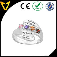 925 Sterling Silver Personalized Name Family Bypass Ring With Custom Birthstones family ring