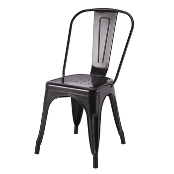 Black Industrial Cafe Chair Stackable Metal Dining Chairs For Sale