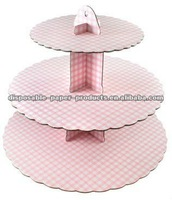 cardboard cupcake stands yiwu factory Pink Gingham 3 tier party stand for your celebration cakes and treats