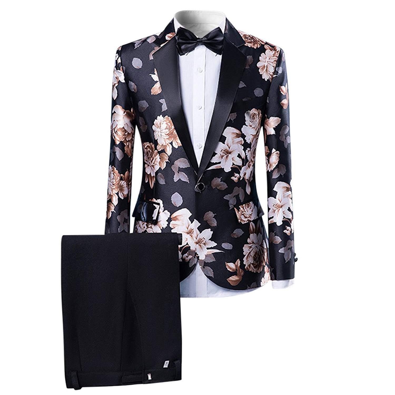 ARTFFEL Mens Plaid 2 Button Work Formal Wedding Party Dress Blazer Jacket Suit Coat