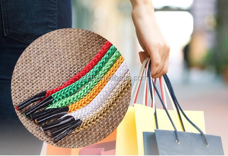 Handbag handle rope with metal barb paper bag