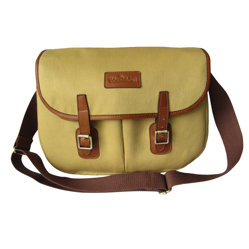 Free Shipping Tourbon Brand Vintage Top Quality Brown Canvas Leather Fly Fishing Bags Case Classic Design Hot