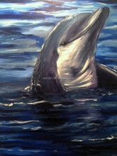 Shen Zhen Dafen Painting Village Manufacturer Wholesale High Quality Hand Painted Abstract Animal Dolphin Oil Painting On Canvas