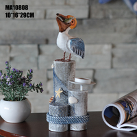 wooden crarvd sea candle holder table decoration
