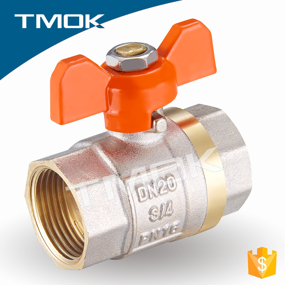 1/2 inch butterfly aluminum handle female*female BSPT thread two pieces sand blastingmanufacture brass ball valve copper dn25