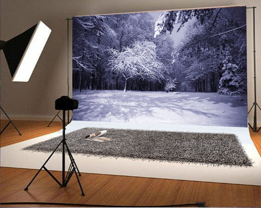 7x5ft Dark Night and White Accumulated Snow Forest Photography Backdrop Winter Photo Background FT0285