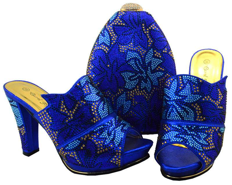 AB8462#5 High quality Italian Shoes and bag in royal blue for evening party with beads